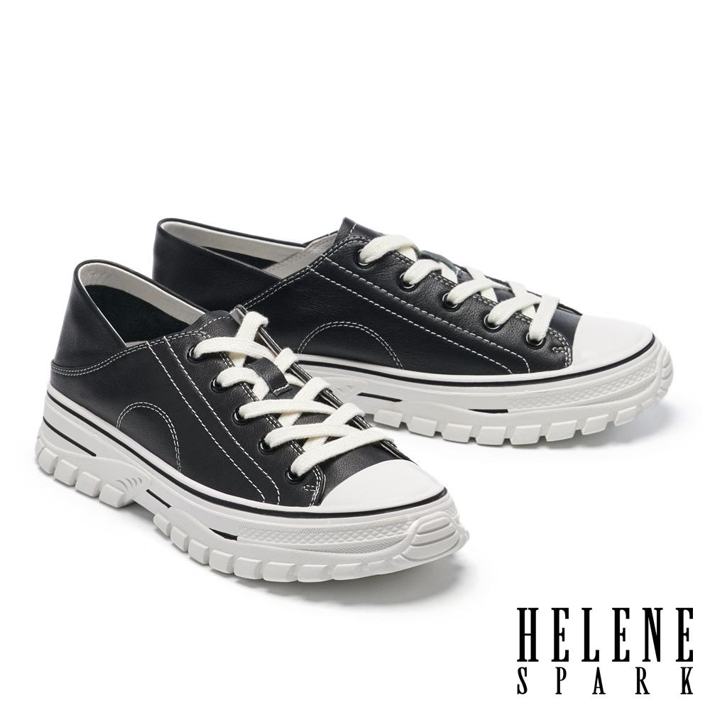 休閒鞋 HELENE SPARK 街頭時髦綁帶造型全真皮厚底休閒鞋-黑