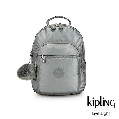 Kipling 金屬墨灰色機能手提後背包-CLAS SEOUL S