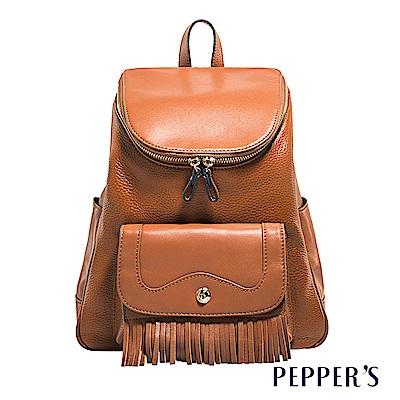 PEPPER`S Gale 羊皮荔牛流蘇後背包 - 焦糖棕