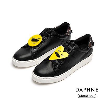 達芙妮DAPHNE 休閒鞋-幾何撞色綁帶休閒鞋-黑