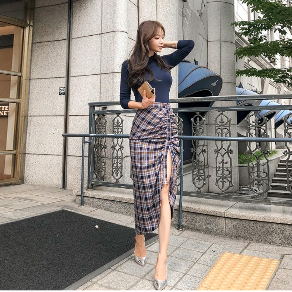 DABI 韓系性感上衣開叉不規則包臀套裝長袖裙裝