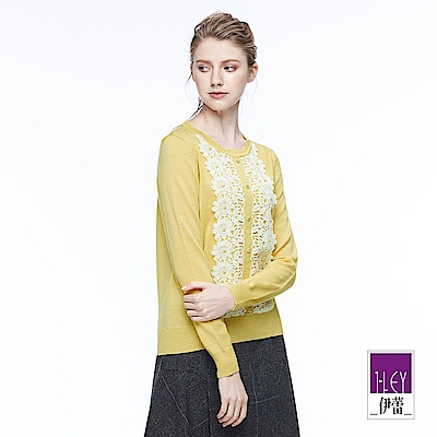 ILEY伊蕾 剪接花卉蕾絲針織上衣(黃)