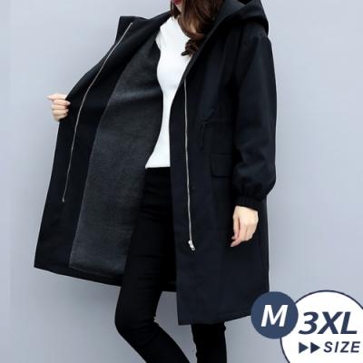 【LANNI 藍尼】完美比例連帽顯瘦加絨風衣(中長版外套/鋪棉外套/風衣/大衣)