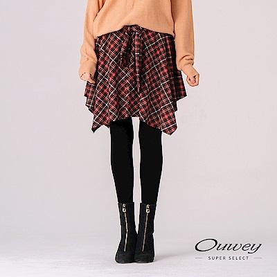 OUWEY歐薇 英倫風格紋綁帶造型褲裙(桔)