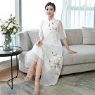 美麗精緻華貴中式刺繡洋裝M-3XL(共三色)REKO