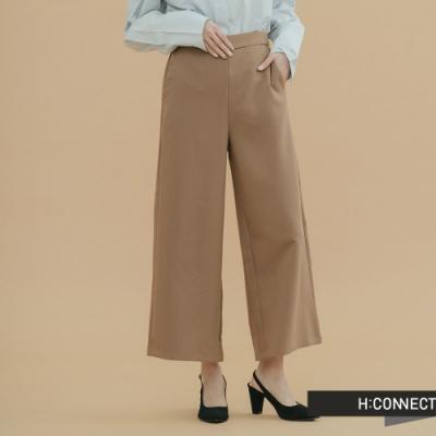 H:CONNECT 韓國品牌 女裝-知性素面寬褲-卡其