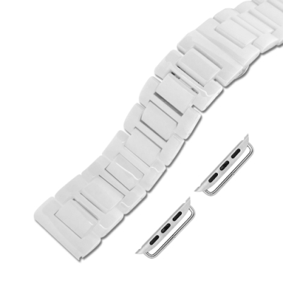 Apple Watch 蘋果手錶替用錶帶 蝴蝶雙壓扣 陶瓷錶帶-白色