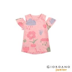 GIORDANO 童裝氣質可愛挖肩上衣-87 粉末粉紅