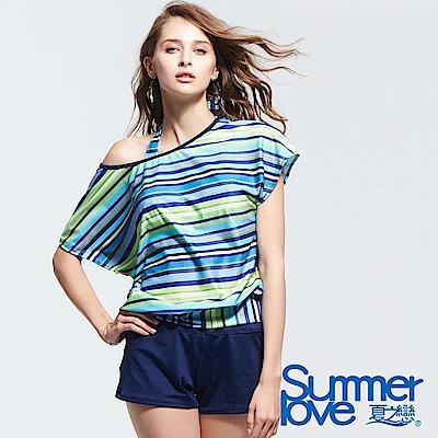 夏之戀SUMMERLOVE 條紋大女長版四件式泳衣