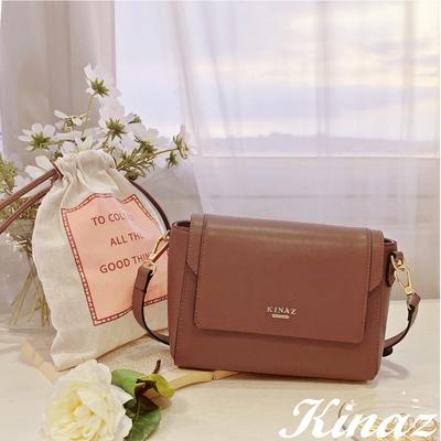KINAZ 附束口袋掀蓋立體斜背小方包-濃醇氣韻-粉紅葡萄酒系列-快