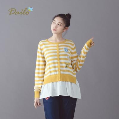 【Dailo】條紋拼接襯衫-針織衫(三色)