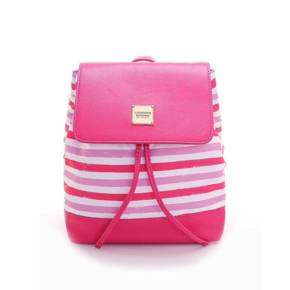 VOVAROVA空氣包-翻蓋束口後背包-經典條紋(粉)