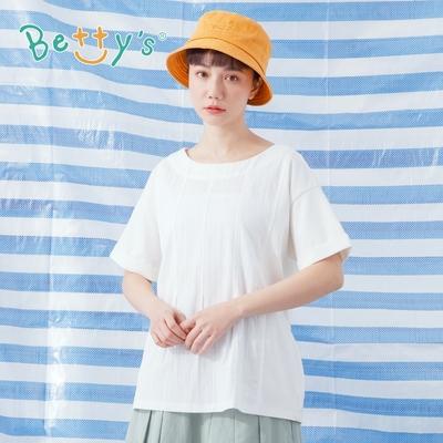 betty's貝蒂思 拼接綁帶純色T-shirt(白色)