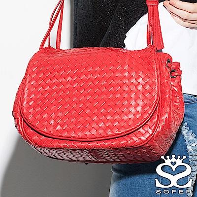 SOFER 頂級限量手工羊皮編織馬鞍包 - 魅力紅