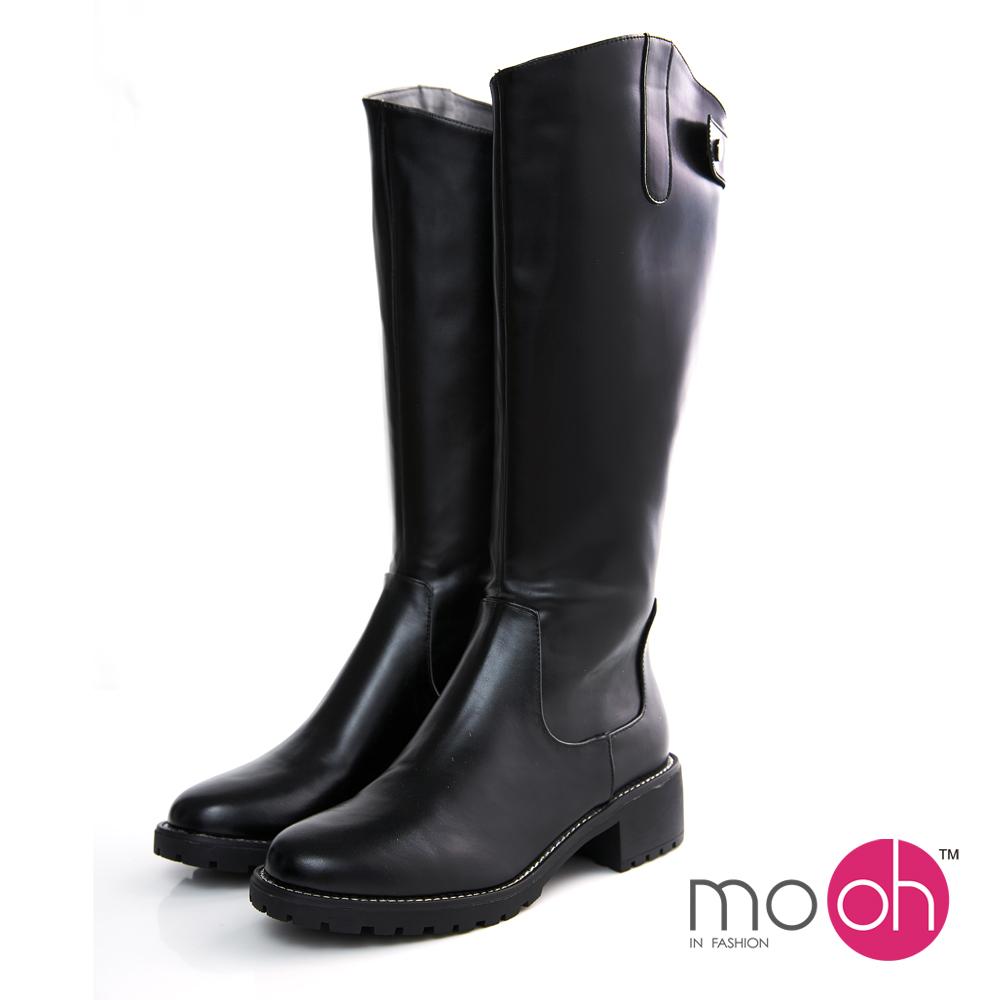 mo.oh-斜口厚底皮帶扣長靴-黑色