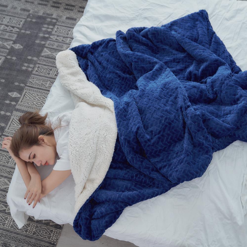 BUHO 文青感質純色法蘭絨/羊羔絨雙層暖絨毯(150x200cm)-自信藍