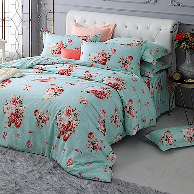 MONTAGUT -華貴牡丹園-200織紗精梳棉-鋪棉床罩組(藍-特大)