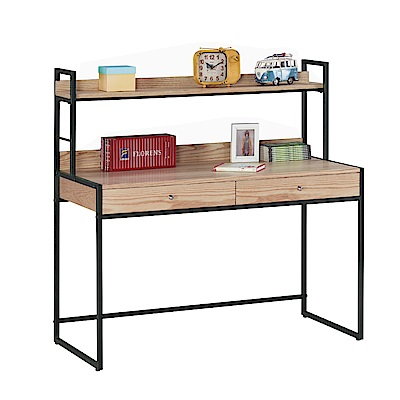 品家居 比其朵4尺雙層二抽書桌(二色可選)-120x60x121cm免組