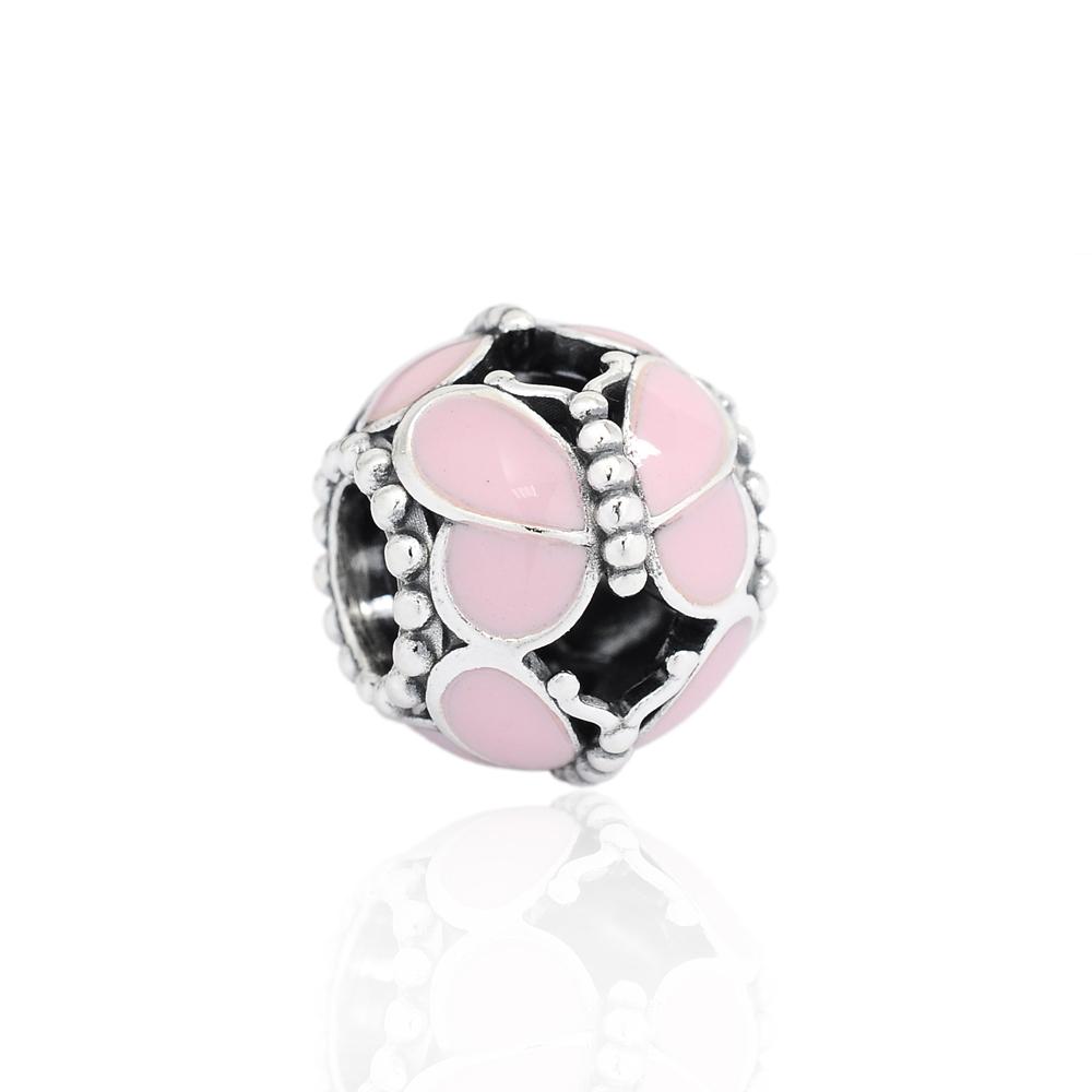 Pandora 潘朵拉 粉色琺瑯蝴蝶圓珠 純銀墜飾 串珠