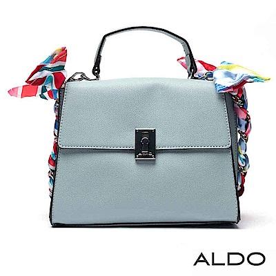ALDO 原色寬版梯字佐絲巾鏈袋掀蓋肩揹包~氣質藍色