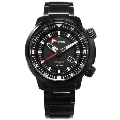 CITIZEN 光動能簡易方位兩地時間手錶(BJ7086-57E)-黑色/49mm