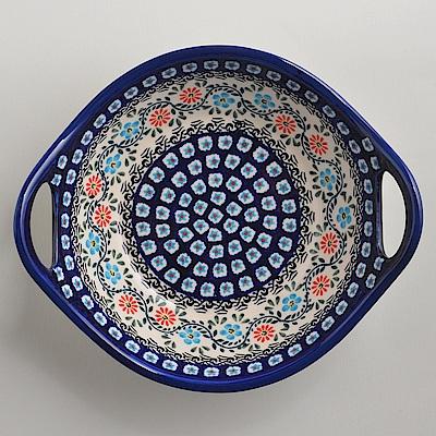 波蘭陶手工製 典雅花團 雙耳圓形深餐盤22cm