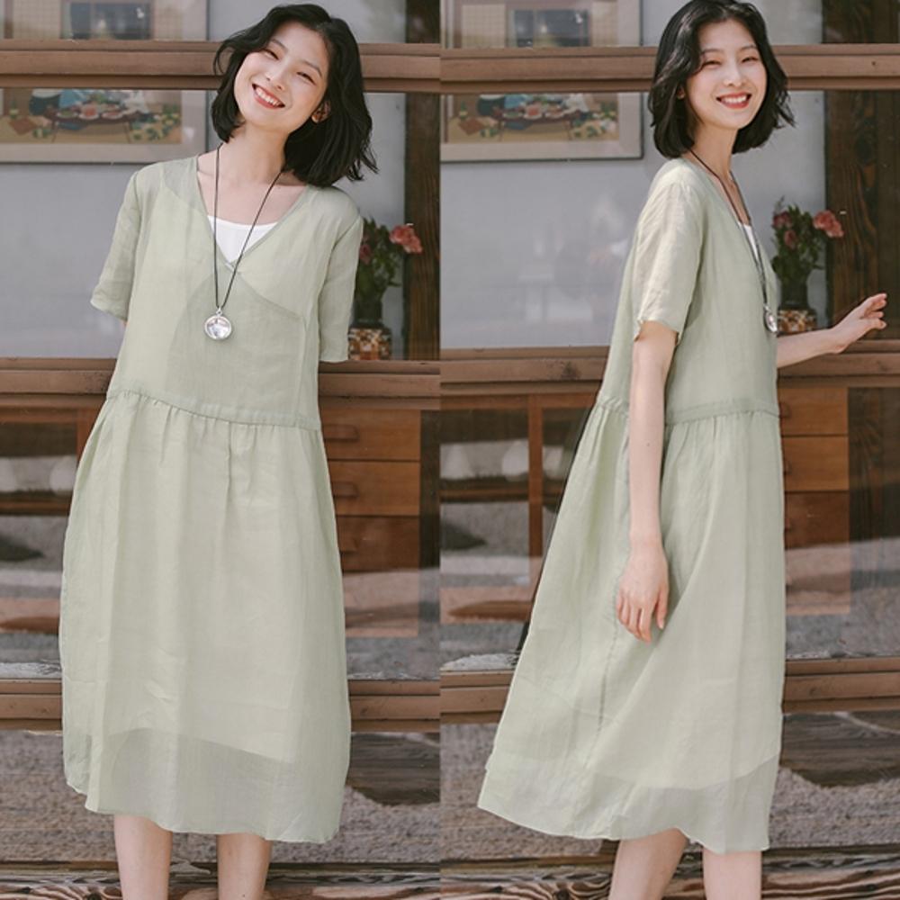 洋裝-高支苧麻手工刺繡斜襟中長寬鬆棉麻裙-設計所在