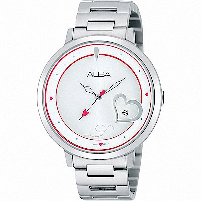 ALBA雅柏 浪漫滿屋 時尚愛心設計女錶(AG8369X1)-銀/38mm