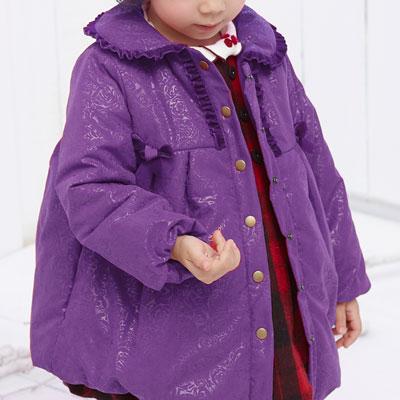 荷葉圓領玫瑰壓紋舖棉外套*4684紫