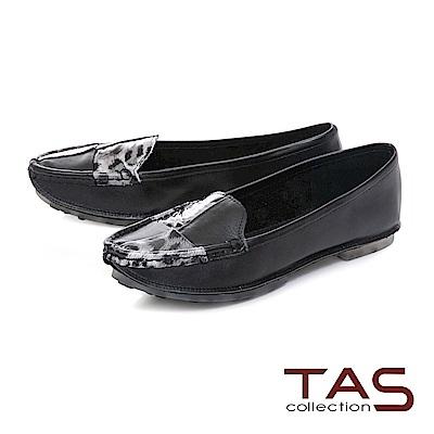TAS 簡約牛皮撞色懶人鞋-經典黑