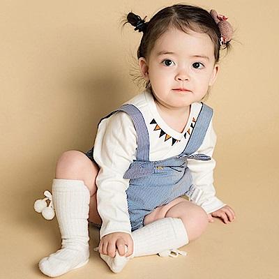 Baby unicorn 藍白條紋貓咪長袖上衣包屁衣組