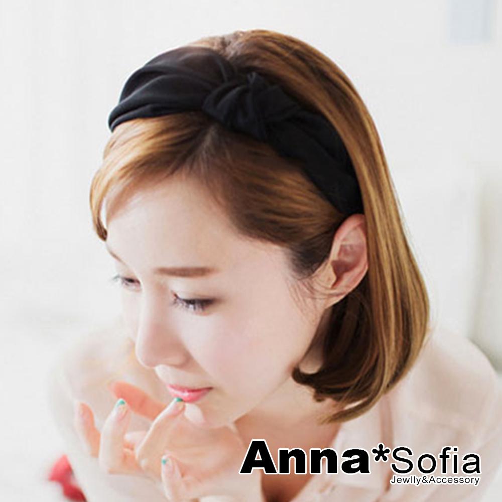 【滿額7折】AnnaSofia 側單結光感牛奶絲 韓式寬髮箍(酷黑系)