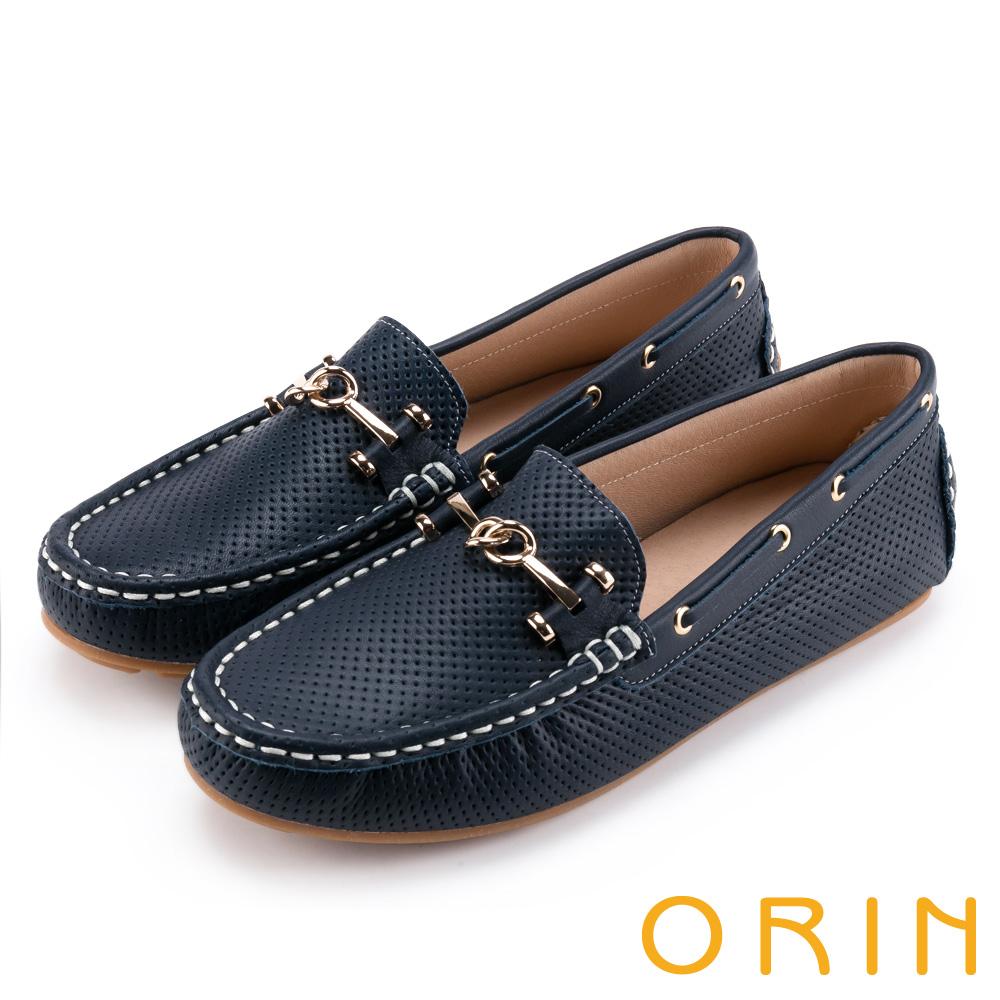 ORIN 牛皮金屬飾釦洞洞 女 平底鞋 深藍