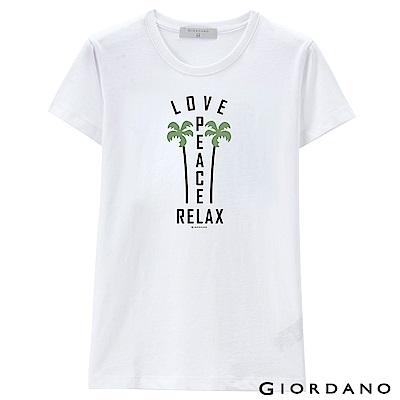 GIORDANO 女裝假期休閒印花T恤- 25 標誌白