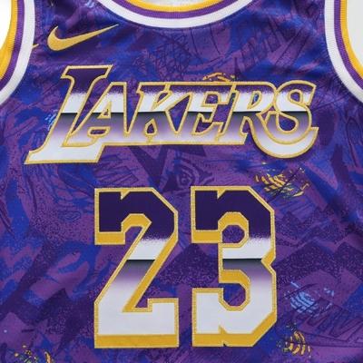Nike 球衣 LeBron James 籃球 NBA 男款 洛杉磯 湖人 23號 透氣 街頭穿搭 紫 黃 DA6951-504