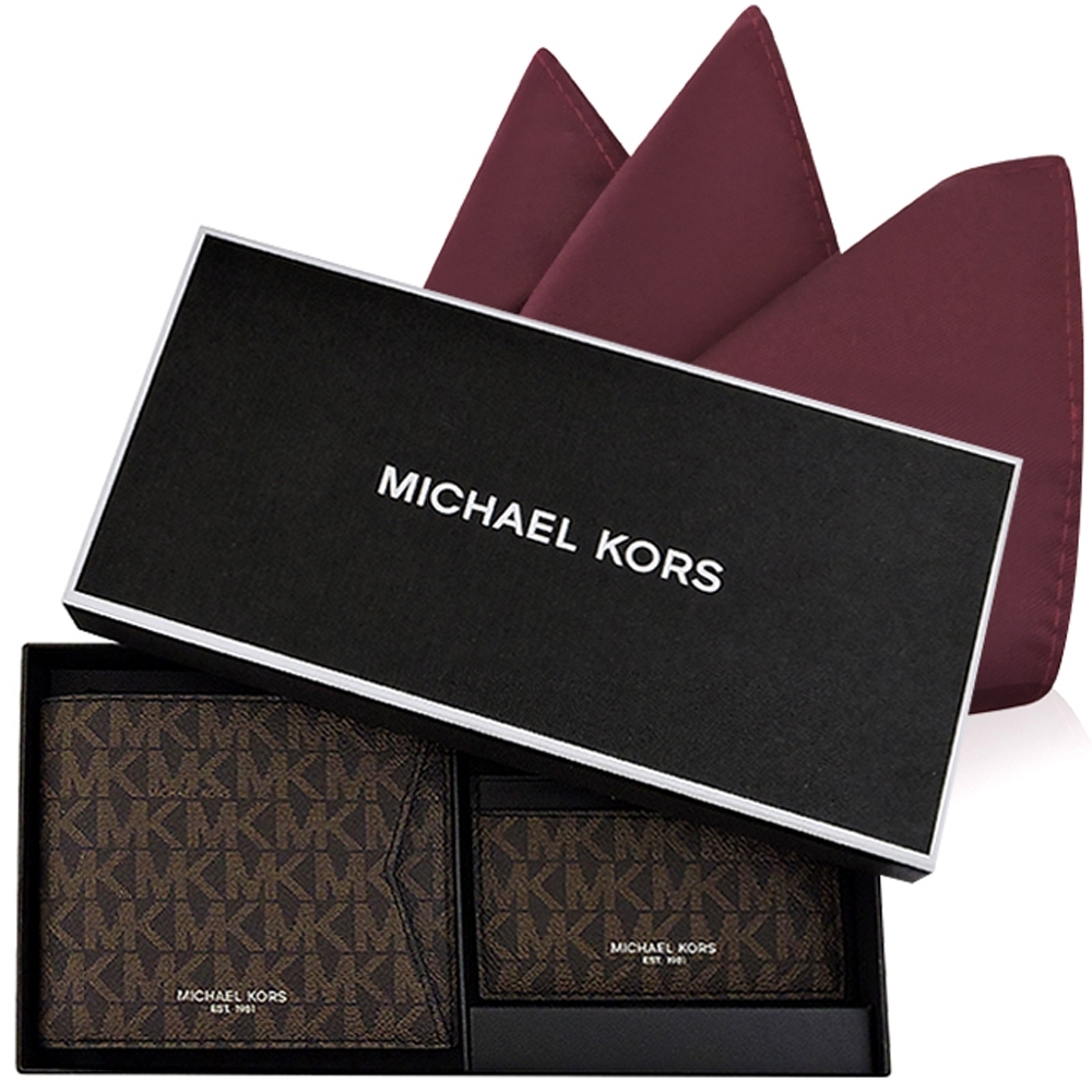 MICHAEL KORS LOGO PVC雙摺短夾禮盒組(巧克力色)+MICHAEL KORS 酒紅色紳士口袋方巾