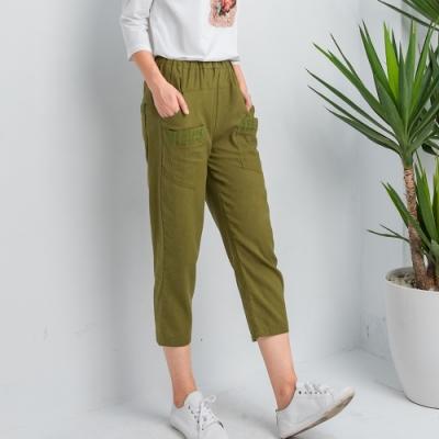 【白鵝buyer】韓國製顯瘦布蕾絲七分褲(3色可選)