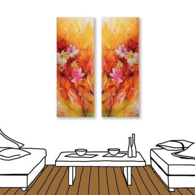 24mama掛畫-二聯式 花卉 油畫風 喜氣 無框畫 30x80cm-艷麗