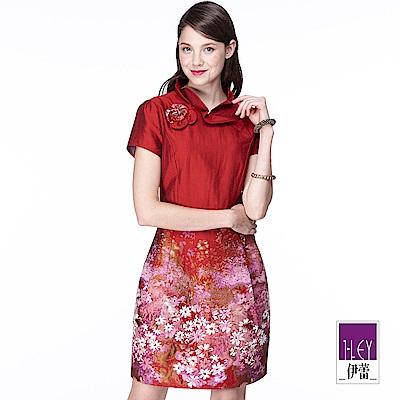 ILEY伊蕾 氣質緹花宴會洋裝(紅)