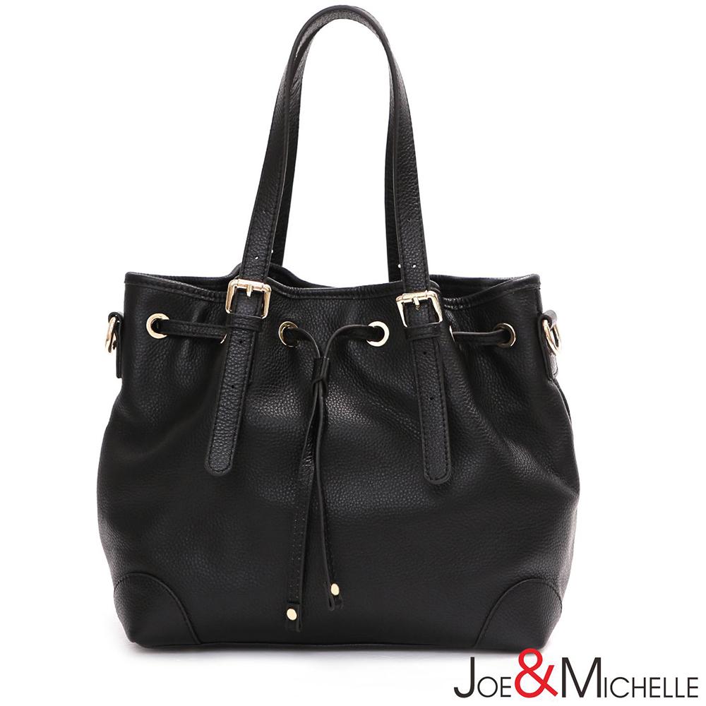 J&M 真皮亞娜經典束口水桶包 時尚黑
