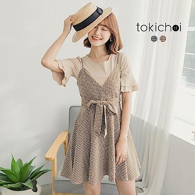 東京著衣 優雅格子腰綁帶兩件式洋裝-S.M(共二色)