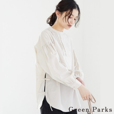 Green Parks 立領前胸皺褶側綁帶上衣