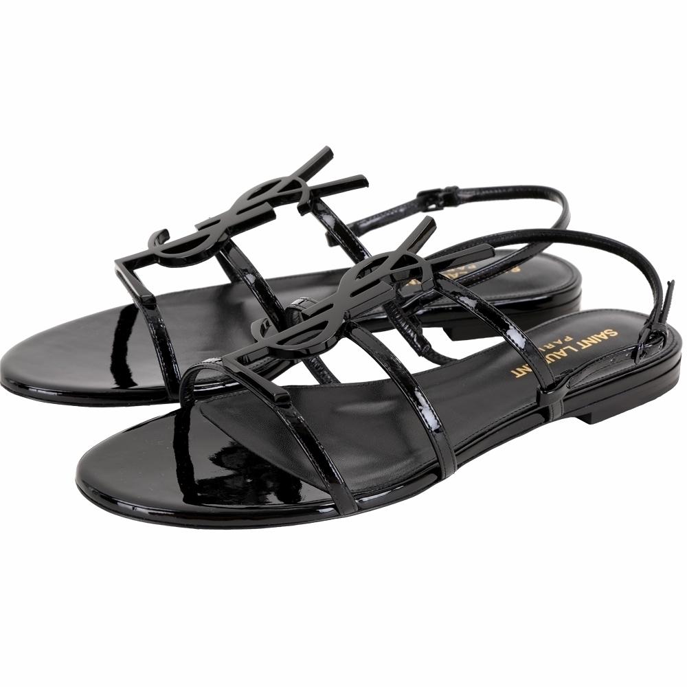 YSL Saint Laurent CASSANDRA 經典字母漆皮涼鞋(黑色)