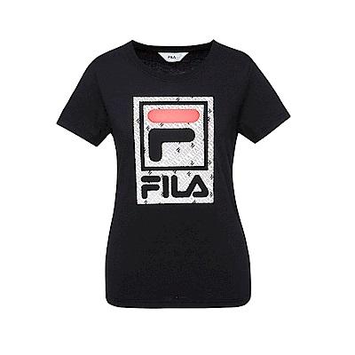 FILA 女款短袖圓領T恤-黑色 5TET-1519-BK