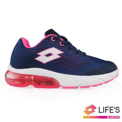 LOTTO 義大利 女 METEOR 流星 編織氣墊跑鞋 (藍)