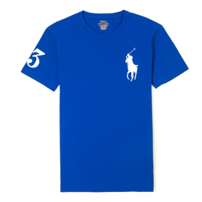 Polo Ralph Lauren 經典刺繡大馬素面短袖T恤-藍色
