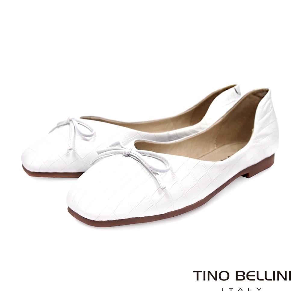 Tino Bellini 氣質舞伶牛皮壓紋芭蕾娃娃鞋-白