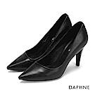 達芙妮DAPHNE 高跟鞋-素面時尚錐型跟晚宴高跟鞋-黑