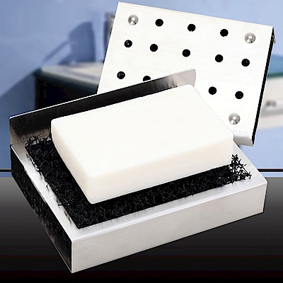 [Ezlife]304不鏽鋼無痕貼香皂瀝水架2入