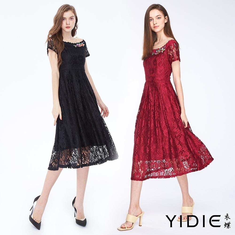 YIDIE衣蝶 浪漫鏤空蕾絲洋裝-共二色